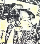 BG26SKU Lee's Needle Arts Japanese Lady Hand-painted canvas - 18 Mesh  Insert fits Bags 01, 11, 36, 36, 53, 59, 60, 62 5in. X 6in.