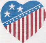 272 Flag Heart Ornament 4.75 x 4.518 Mesh Silver Needle Designs