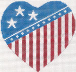 273 Flag Heart Pillow 8.75 x 8.5 13 Mesh Silver Needle Designs