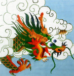 P1266SKU Lee's Needle Arts Green Dragon on Light Blue Background 13M 2014 12in x 12in