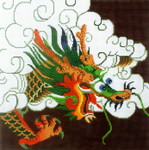 P1267SKU Lee's Needle Arts Green Dragon on Maroon Background 13M 2014 12in x 12in