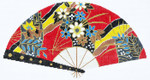 F766SSKU Lee's Needle Arts Red With Fans Hand-Painted Canvas 10in x 5.5in, 18m
