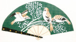F808SKU Lee's Needle Arts Birds on Green Fan 18M 2013 10in. x 5.5in.