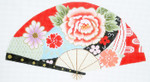 F802SKU Lee's Needle Arts Blossoms on Red Fan 18m 2013 10in. x 5.5in.