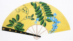 F791SKU Lee's Needle Arts Blue Floral on Yellow Fan 18M 2013 10in. x 5.5in.