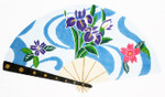 F792SKU Lee's Needle Arts Swirley Blue W/ Flowers Fan 18M 10in. x 5.5in.