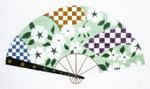 F798SKU Lee's Needle Arts Gardenia & Checkerboard Fan 18M 10in. x 5.5in.