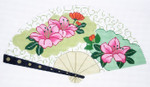 F807SKU Lee's Needle Arts Hibiscus & Green Swirls Fan 18M 10in. x 5.5in.