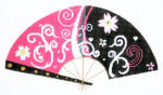 F797SKU Lee's Needle Arts Pink & Black Blossom Fan 18M 10in. x 5.5in.