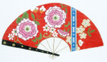 F809SKU Lee's Needle Arts Pink Blossoms on Red Fan 18M 10in. x 5.5in.