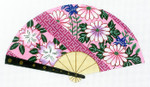 F810SKU Lee's Needle Arts Pink daisies on a pink fan. Hand-Painted Canvas - 18 Mesh 10x5.5