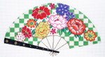 F803SKU Lee's Needle Arts Punch Blossoms on Green Fan 18M 10in. x 5.5in.