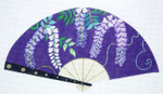F804SKU Lee's Needle Arts Purple Vines Fan 18M 10in. x 5.5in.