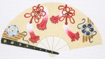 F806SKU Lee's Needle Arts  Red & Blue Blossoms Fan 18M 10in. x 5.5in.