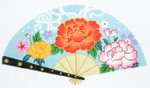 F801SKU Lee's Needle Arts Warm Flowers on Blue Fan 18M 10in. x 5.5in.