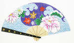 F796SKU Lee's Needle Arts Wave with Purple Flower Fan 18M 10in. x 5.5in.