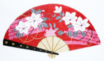 F794SKU Lee's Needle Arts White Blossoms on Red Fan 18M 10in. x 5.5in.