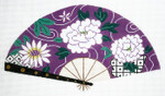 F799SKU Lee's Needle Arts White Floral on Purple Fan 18M 10in. x 5.5in.