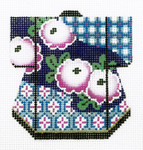 K1058SKU Lee's Needle Arts Pink Flowers on Blue Kimono Hand-Painted Canvas 3in x 3.5in, 18m