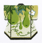 K1060SKU Lee's Needle Arts Green on Yellow Kimono Hand-Painted Canvas 3in x 3.5in, 18m