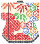 K1091SKU Lee's Needle Arts Petite Kimono Hand-Painted Canvas 3in x 3.5in, 18m