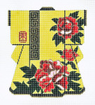 KB07SKU Lee's Needle Arts Yellow Kimono Hand-Painted Canvas 5in x 6in, 18m
