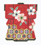 KB08SKU Lee's Needle Arts  Red Kimono Hand-Painted Canvas 5in x 6in, 18m