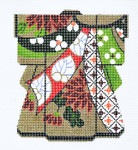 KB14SKU Lee's Needle Arts  Ribbon On Gold Kimono Hand-Painted Canvas 5in x 6in, 18m