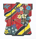 KB19SKU Lee's Needle Arts Red With Fans Kimono Hand-Painted Canvas 5in x 6in, 18m