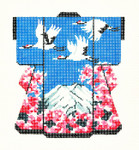 KB23SKU Lee's Needle Arts Fuji Mountain & 3 Cranes Hand-Painted Canvas 5in x 6in, 18m