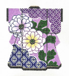 KB25SKU Lee's Needle Arts Floral On Violet Hand-Painted Canvas 5in x 6in, 18m