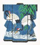 KB27SKU Lee's Needle Arts Two Cranes Hand-Painted Canvas 5in x 6in, 18m