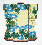 KB28SKU Lee's Needle Arts Blue Flowers on Yellow Kimono Hand-Painted Canvas 5in x 6in, 18m