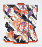KB31SKU Lee's Needle Arts Orange Kimono Hand-Painted Canvas 5in x 6in, 18m