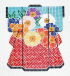 KB32SKU Lee's Needle Arts Flowers on Red Kimono Hand-Painted Canvas 5in x 6in, 18m