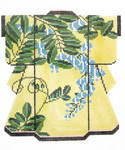 KB33SKU Lee's Needle Arts Blue Floral on Yellow Kimono 18M 2013 5in x 6in, 18m
