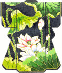 SPM279SKU Lee's Needle Arts Lotus Kimono Hand-Painted Canvas 8in x 10in, 18m
