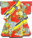 SPM300SKU Lee's Needle Arts Red With Fans Kimono Hand-Painted Canvas 8in x 10in, 18m