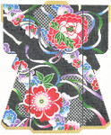 SPM306SKU Lee's Needle Arts Floral On Navy Kimono Hand-Painted Canvas 8in x 10in, 18m