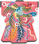 SPM314SKU Lee's Needle Arts Phoenix On Pink Kimono Hand-Painted Canvas 8in x 10in, 18m