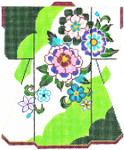 SPM317SKU Lee's Needle Arts Floral On Green Kimono Hand-Painted Canvas 8in x 10in, 18m