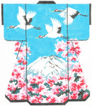 SPM325SKU Lee's Needle Arts Fuji Mountain & Three Cranes Hand-Painted Canvas 8in x 10in, 18m