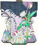 SPM328SKU Lee's Needle Arts Floral On Blue Hand-Painted Canvas 8in x 10in, 18m