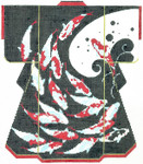 SPM330SKU Lee's Needle Arts Koi On Black Hand-Painted Canvas 8in x 10in, 18m