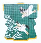 KB50SKU Lee's Needle Arts  Birds on Green Kimono 18M 2013 5in. x 6in.