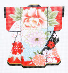 KB44SKU Lee's Needle Arts Blossoms on Red Kimono 18M  5in. x 6in.