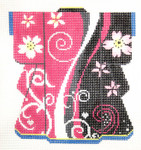 KB39SKU Lee's Needle Arts Pink & Black Blossom Kimono 18M 5in. x 6in.