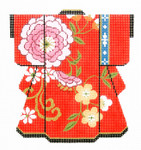 KB51SKU Lee's Needle Arts Pink Blossoms on Red Kimono 18M 5in. x 6in.