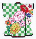 KB45SKU Lee's Needle Arts Punch Blossoms on Green Kimono 18M 5in. x 6in