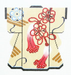 KB48SKU Lee's Needle Arts  Red & Blue Blossoms Kimono 18M 5in. x 6in.